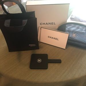 Chanel beaute cosmetic case, bag, mirror and box.